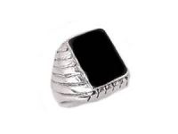 Men's Ribbed Black Onyx Silver Large Size Ring