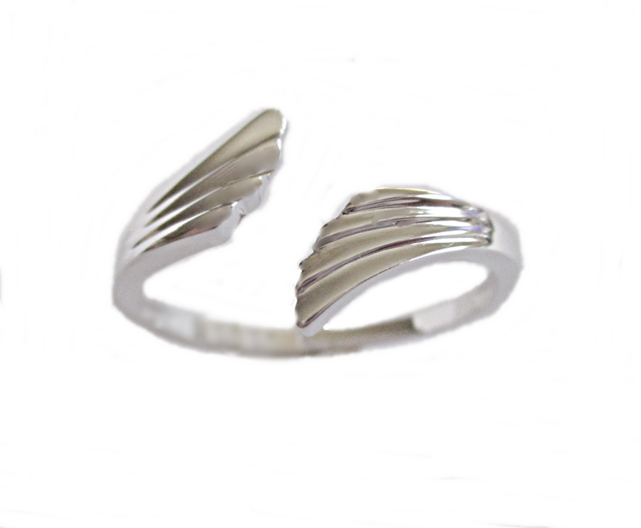 Silver Angel Wings Large Size Ring