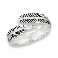 Plus Size Ring Silver Single Feather