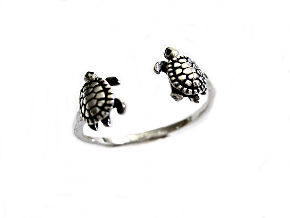Silver Turtles Plus Size Ring