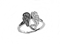 Angel Wings and Heart Silver Large Size Ring