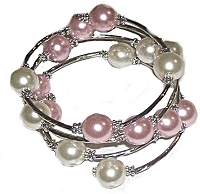 Pink and White Spiral Large Size Bracelet