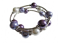 White and Purple Bead Large Size Bracelet