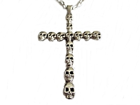 Men's Skull Cross Necklace Long Chains