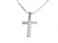 Silver Polished Cross Plus Size Necklace