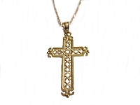 14k Yellow Gold Plus Size Cross Necklace