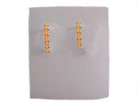 Orange Amber Cz Earrings Half Hoops Silver