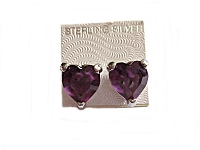 Purple Cz Heart Earrings