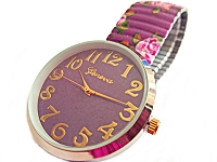Purple Floral Stretch Watch Long 8 to 9 Inch
