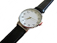 Men's Long Watch Black Strap Large Face
