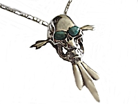 Men's Green Eyes Skull Necklace Long Chains