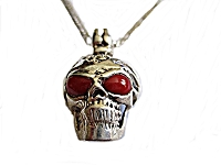 Men's Red Eyes Skull Necklace