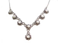 Mother of Pearl Flowers Plus Size Necklace