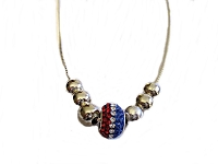 Red, White and Blue Bead Plus Size Necklace