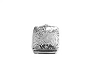 Small Square Pill Box Etched Silver