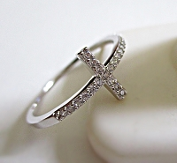 Cz Cross Large Size Ring