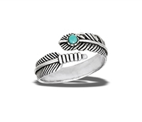Large Size Turquoise Feather Ring