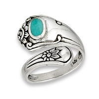 Turquoise Spoon Ring Large Size