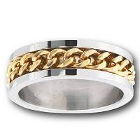 Two Tone Chain Link Large Size Ring