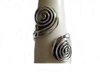 Plus Size Ring Silver Spirals