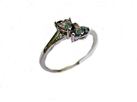 Rainbow Topaz Tiny Hearts Large Size Ring