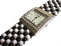 Black and White Bead Plus Size Watch