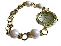 Gold and White Pearl Plus Size Watch