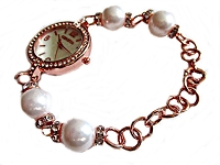 Rose Gold White Pearl Plus Size Watch