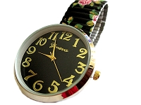 Black Floral Stretch Watch Long 7 to 8 Inch