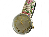 White Floral Stretch Watch Long 7 to 8 Inch