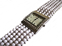 White Bead Plus Size Watch Bracelet