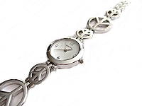 Silver Peace Sign Long Watch