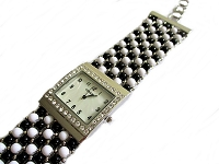 Black and White Plus Size Watch Bracelet