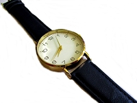 Men's Black Long Watch Strap Gold Rim