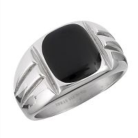 Men's Steel Black Onyx Plus Size Ring