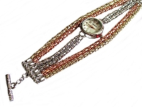 Tri-Color Strands Plus Size Watch Bracelet