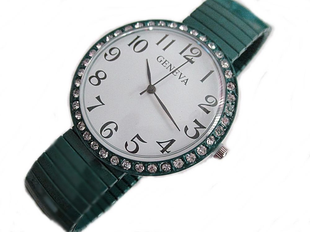 Green Stretch Fancy Plus Size Watch