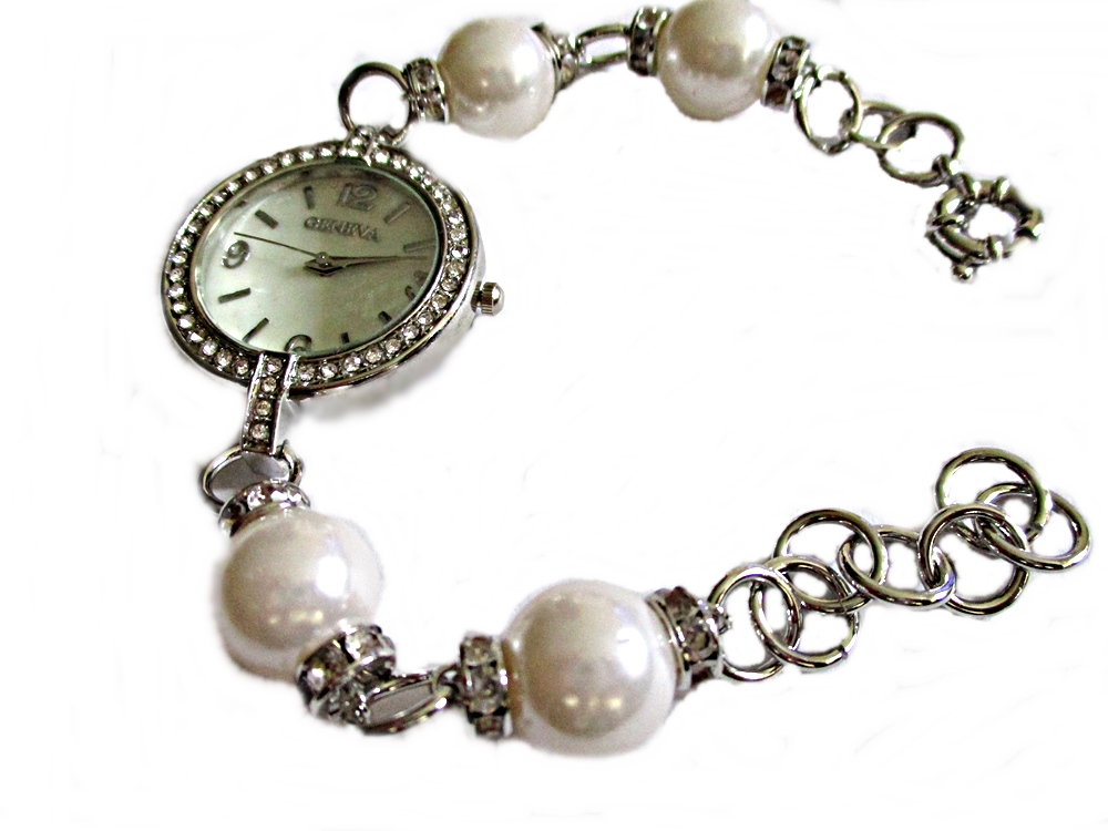 White Faux Pearl and Silver Plus Size Watch