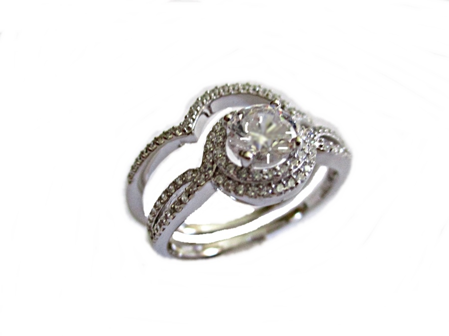 Halo Large Size Wedding Ring Set