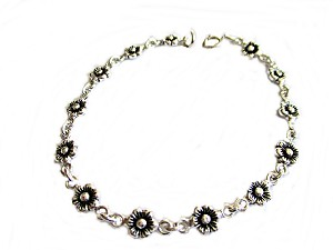 Little Flowers Silver Large Size Bracelet