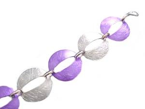 Oval Silver and Purple Plus Size Bracelet