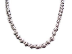 Plus Size Necklace Silver Beads 22 Inch