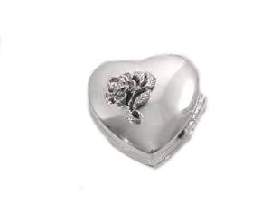 Heart and Rose Sterling Silver Pill Box
