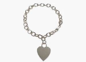 14k White Gold Plus Size Bracelet Heart