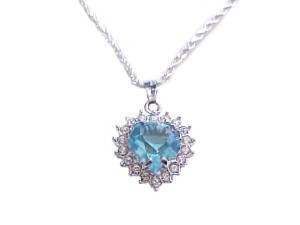 Blue Cz Heart Silver Plus Size Necklace