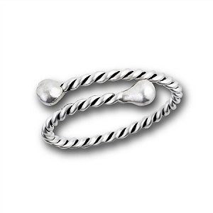Rope and Bead Silver Plus Size Ring