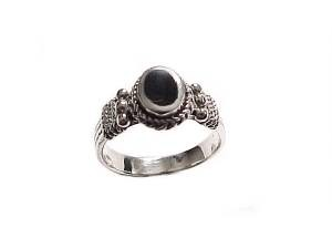 Black Onyx Large Size Ring Sterling Silver